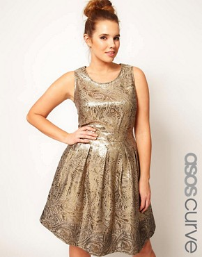 Image 1 ofASOS CURVE Exclusive Dolly Skater Dress In Gold Brocade