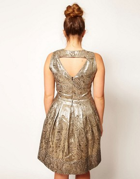 Image 2 ofASOS CURVE Exclusive Dolly Skater Dress In Gold Brocade