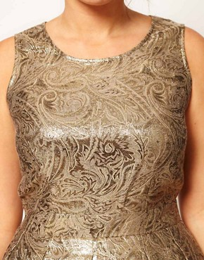 Image 3 ofASOS CURVE Exclusive Dolly Skater Dress In Gold Brocade