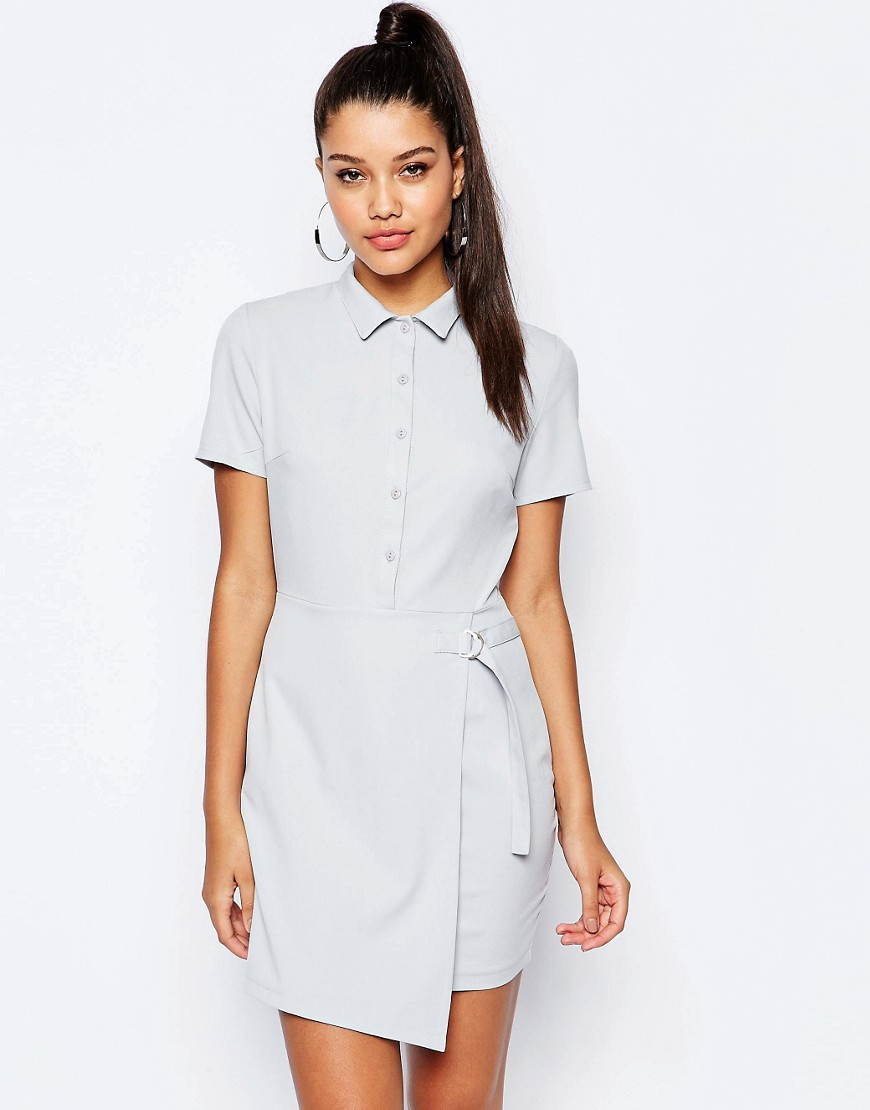 Missguided Short Sleeve D-Ring Wrap Shirt Dress - Ice gray