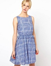 Boutique by Jaeger Cross Hatch Print Dress with Frill at Waist