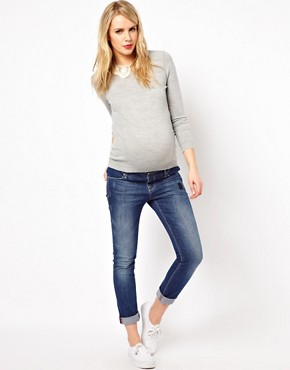 Image 4 ofASOS Maternity Jumper With Embroidered Lace Collar