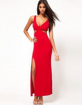 Image 4 ofASOS PETITE Exclusive Maxi Dress With Cut Out Sides And Sexy Split