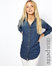 ASOS PETITE Denim Shirt in Dark Vintage Wash