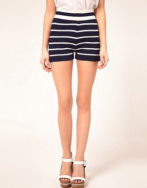 Image 4 ofASOS PETITE Exclusive Stripe Shorts