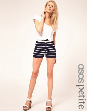 Image 1 ofASOS PETITE Exclusive Stripe Shorts