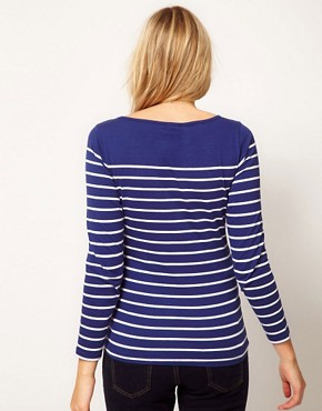 Image 2 ofASOS Maternity Top in Cotton Breton Stripe with Long Sleeves