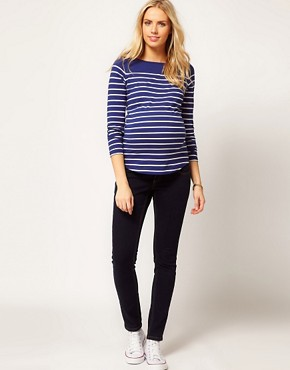Image 4 ofASOS Maternity Top in Cotton Breton Stripe with Long Sleeves