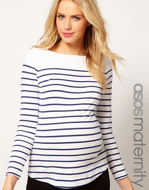 Image 1 ofASOS Maternity Top in Cotton Breton Stripe with Long Sleeves