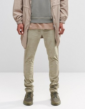 ASOS Skinny Chinos With Oil Wash In Light Stone