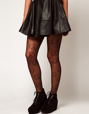 Image 1 ofASOS Sheer Peace Sign Tights