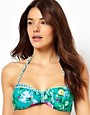 South Beach Scarf Print Bandeau Bikini Top With Double Bow Detail