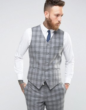 ASOS WEDDING Slim Waistcoat In Grey With Charcoal Check