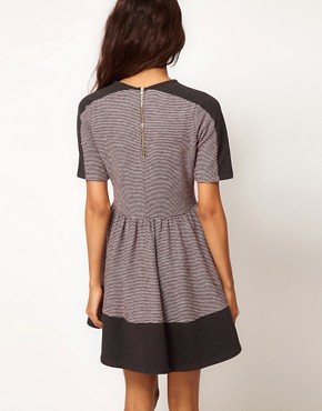 Image 2 ofASOS PETITE Sweat Skater Dress In Colourblock