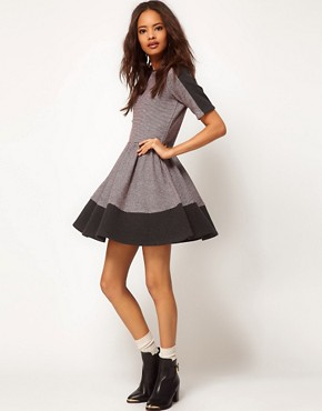 Image 4 ofASOS PETITE Sweat Skater Dress In Colourblock