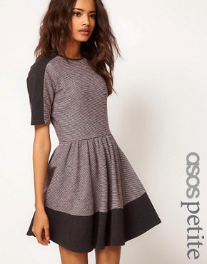 Image 1 ofASOS PETITE Sweat Skater Dress In Colourblock