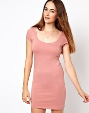 Vila Scoop Body Con Dress With Cap Sleeve