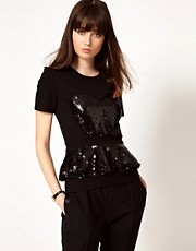 Markus Lupfer Frill Bodice Top with Sequins