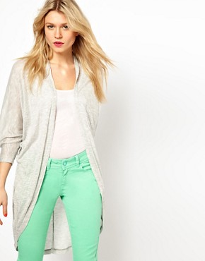 Image 1 of ASOS Longline Cardigan with Dipped Back