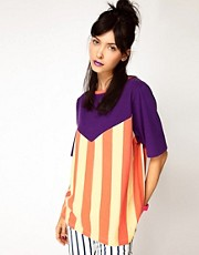 House of Holland - T-shirt oversize con motivo a righe a V