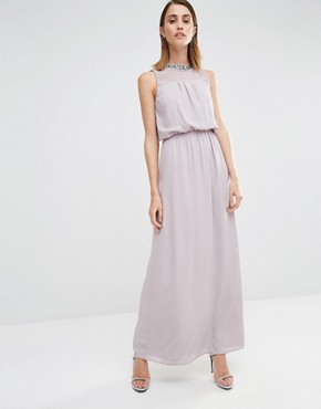 Warehouse Embellished Keyhole Back Maxi Dress