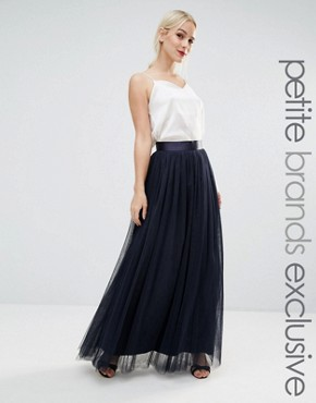 True Decadence Petite All Over Tulle Full Maxi Skirt