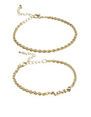 ASOS Two Pack Love Bracelets