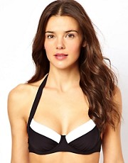 Esprit Contrast Underwired Halterneck Bikini Top