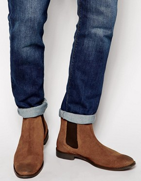 ASOS Chelsea Boots in Tan Suede With Back Pull