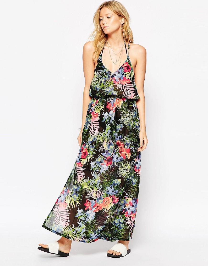 Liquorish Tropical Print Maxi Dress - Multi