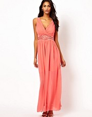 Little Mistress Wrap Front Embellished Waist Maxi Dress