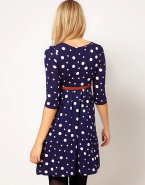 Image 2 ofASOS Maternity Spot Skater Dress With Belt