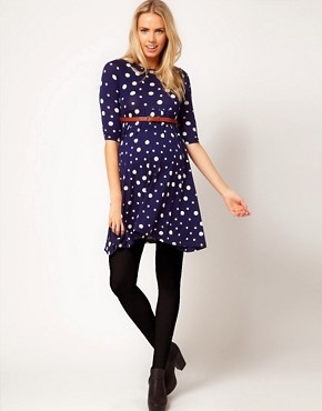 Image 4 ofASOS Maternity Spot Skater Dress With Belt