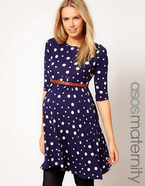 Image 1 ofASOS Maternity Spot Skater Dress With Belt