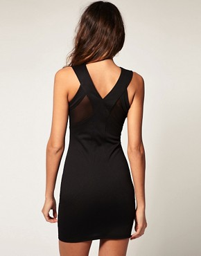 Image 2 ofASOS Mesh Bodycon Dress with Jewel Collar