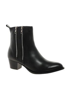 Image 1 ofASOS AXE Leather Western Ankle Boots with Chelsea Detail