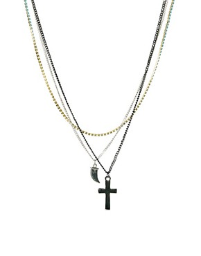 Image 1 ofASOS 3 Pack Cross Horn Stone Necklaces