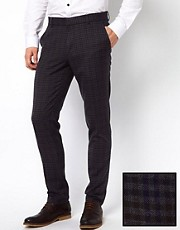 ASOS Slim Fit Smart Trousers in Mini Check