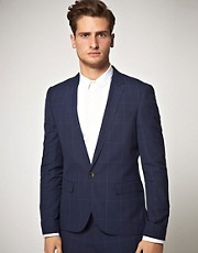 ASOS Slim Fit Check Suit Jacket in Blue