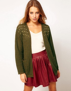 Image 1 of Hearts & Bows Cardigan with Stud Shoulders