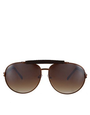 Bild 2 von ASOS Premium  Pilotensonnenbrille mit echtem Leder
