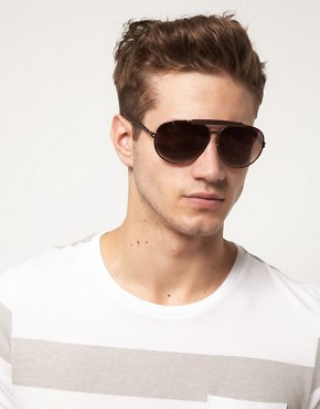 Bild 3 von ASOS Premium  Pilotensonnenbrille mit echtem Leder