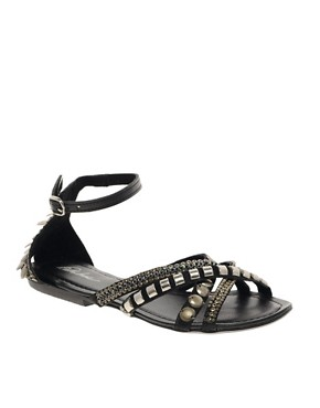 Image 1 ofPark Lane Embellished Flat Sandals
