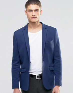 Selected Homme Jersey Pique Blazer in Slim Fit