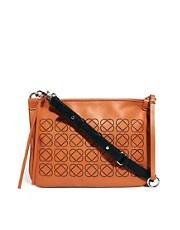 ASOS Premium Leather Laser Cut Across Body Bag With Removable Front Clutch Bag
