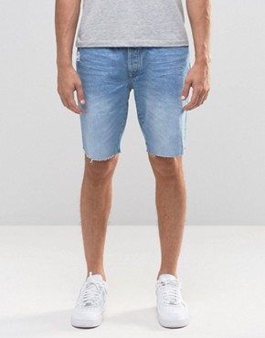 River Island Denim Shorts With Abrasion And Raw Hem In Lightwash Blue