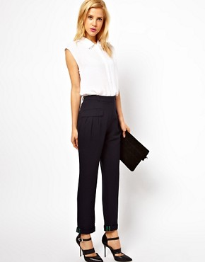 Image 1 ofASOS Trousers With Slouch Roll Hem