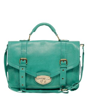 Image 1 ofASOS Leather Twist Lock Vintage Style Satchel