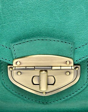 Image 2 ofASOS Leather Twist Lock Vintage Style Satchel