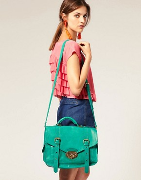 Image 3 ofASOS Leather Twist Lock Vintage Style Satchel